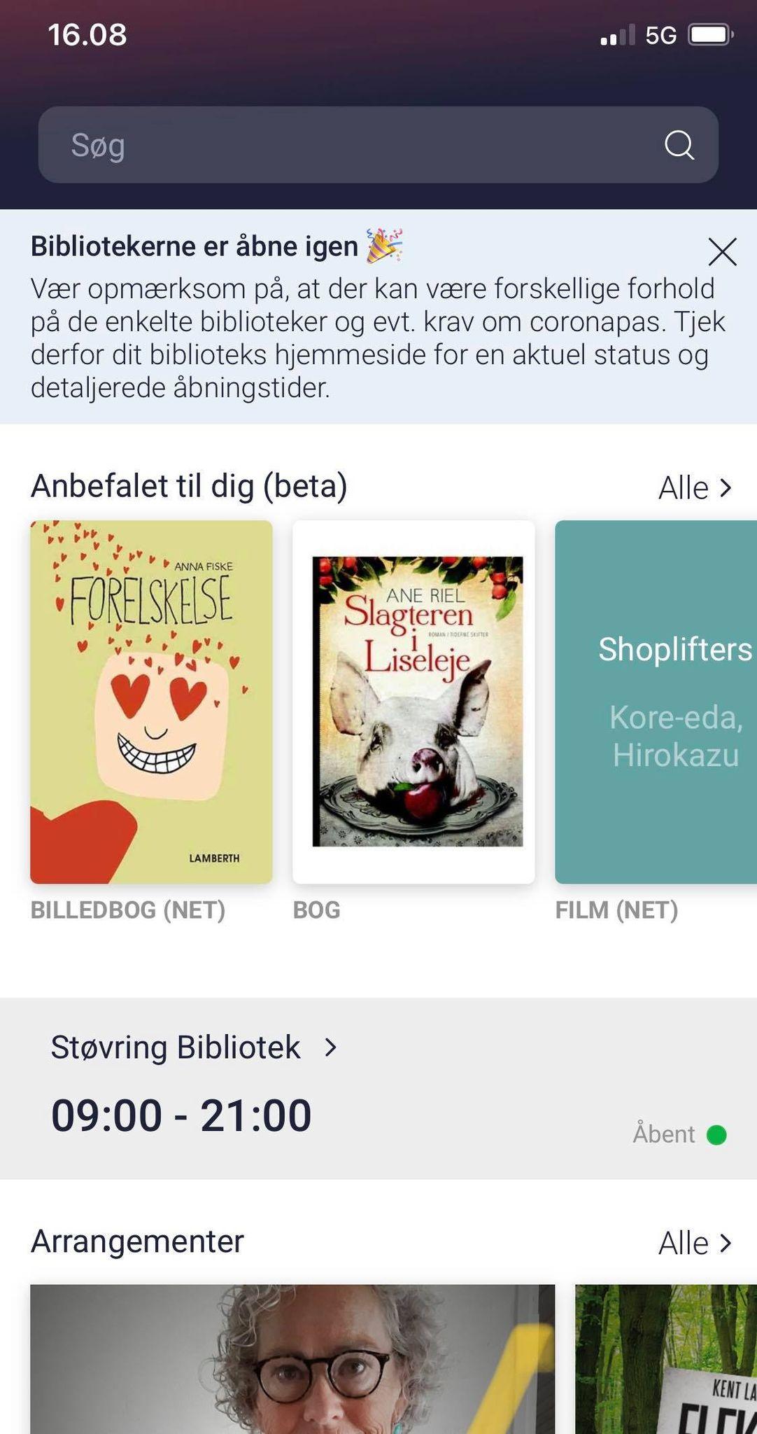 "Skærmprint fra app'en ""Biblioteket"""