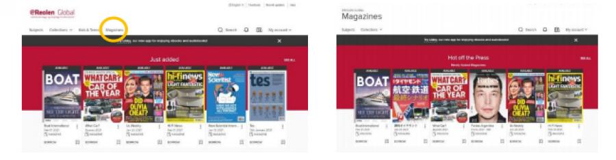 """Foto af eReolen Global i browser, med fremhævet menupunkt """"Magazines"""" i toppen til højre"""
