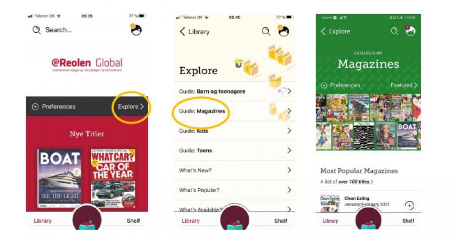 """Foto af eReolen Global i app'en Libby, med fremhævet menupunkt """"Explore"""" og """"Guide: magazines"""""""