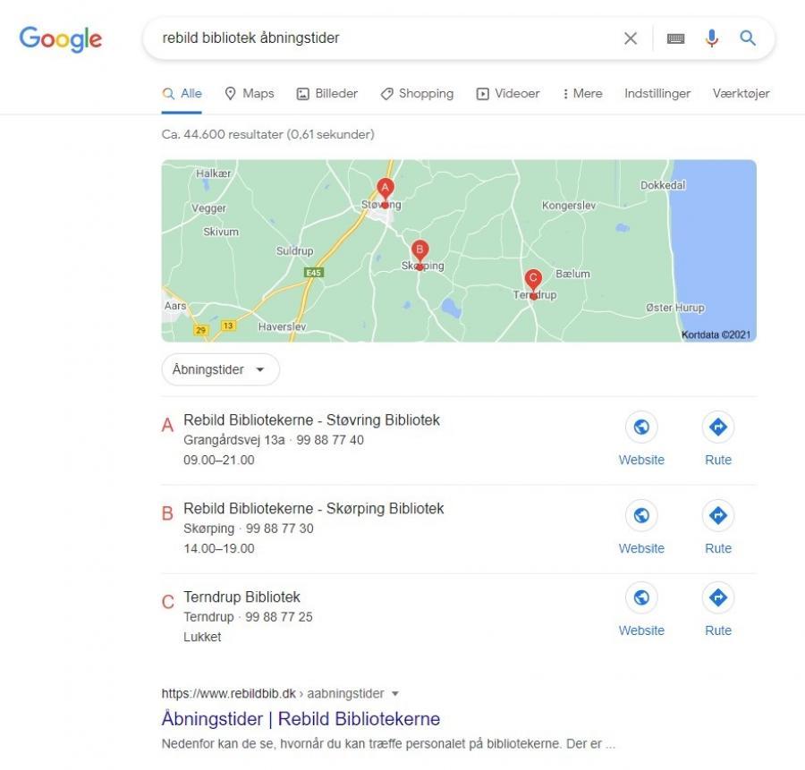 Skærmprint fra Google søgning